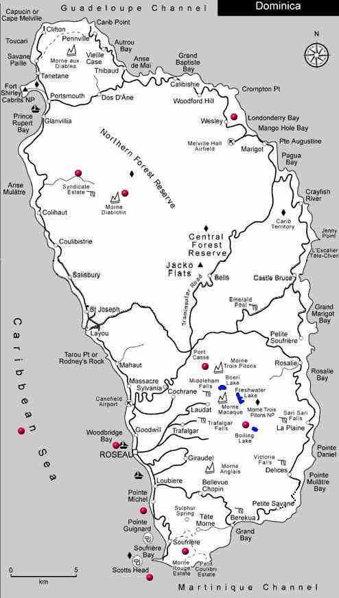 Dominica Island map