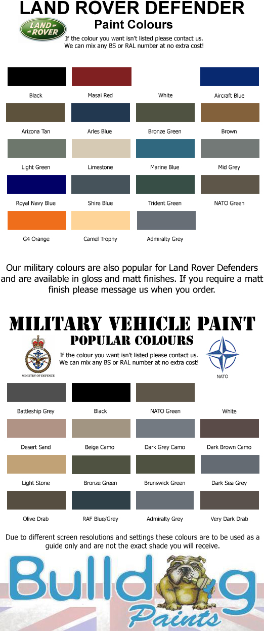 Land Rover Defender Paint All Colours 2 5 Litres