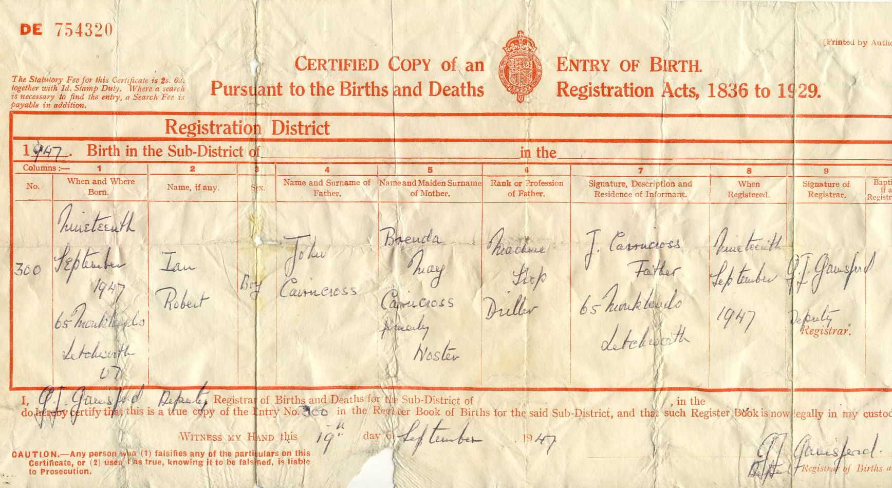 Noster family tree heres ians birth certificate aiddatafo Gallery