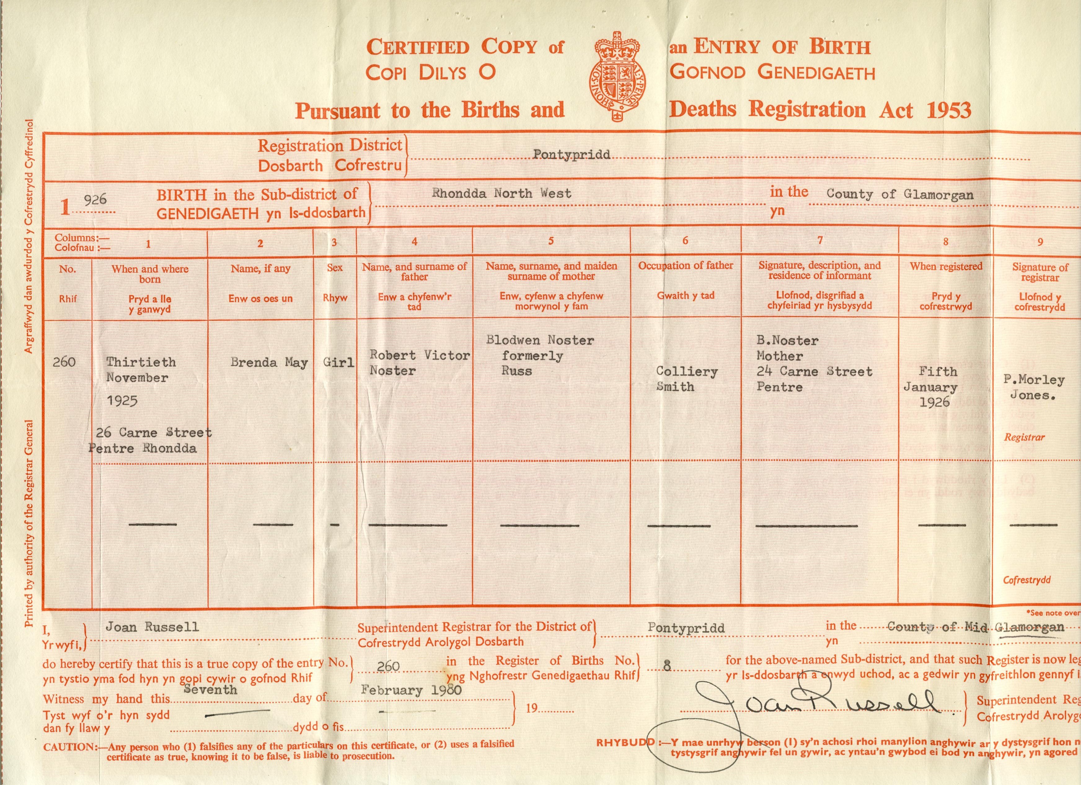 Noster family tree heres the marriage certificate of brenda and john heres a photo of brenda john and baby ian taken in 1947 brenda divorced then later re married edward aiddatafo Choice Image